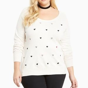 Torrid Heart embroidered sweater size 1